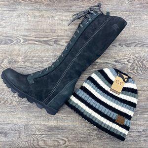 NWT!! C.C Black Striped Beanie Hat